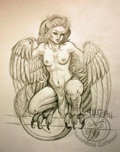 Harpye Bleistiftzeichnung